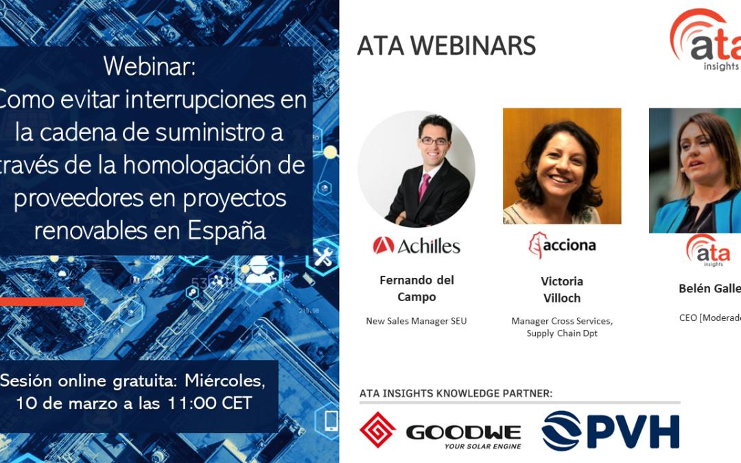 Webinar: Como evitar interrupciones en la cadena de suministro a través de la homologación de proveedores en proyectos renovables en España